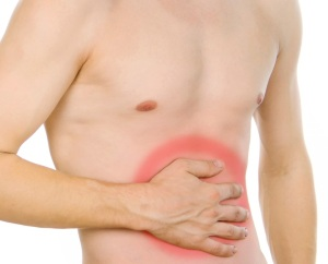 male torso, pain in the abdomen